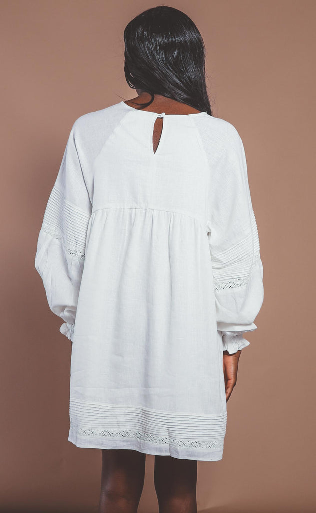 take a chance linen dress - ivory