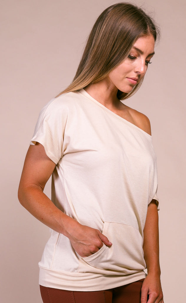 basically perfect one shoulder top - khaki