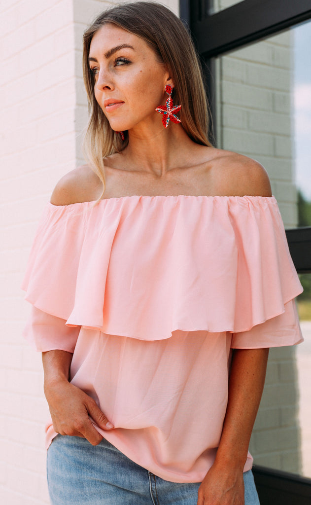 ruffled around off the shoulder top - pink