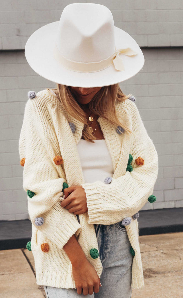 time to party pom pom cardigan - cream