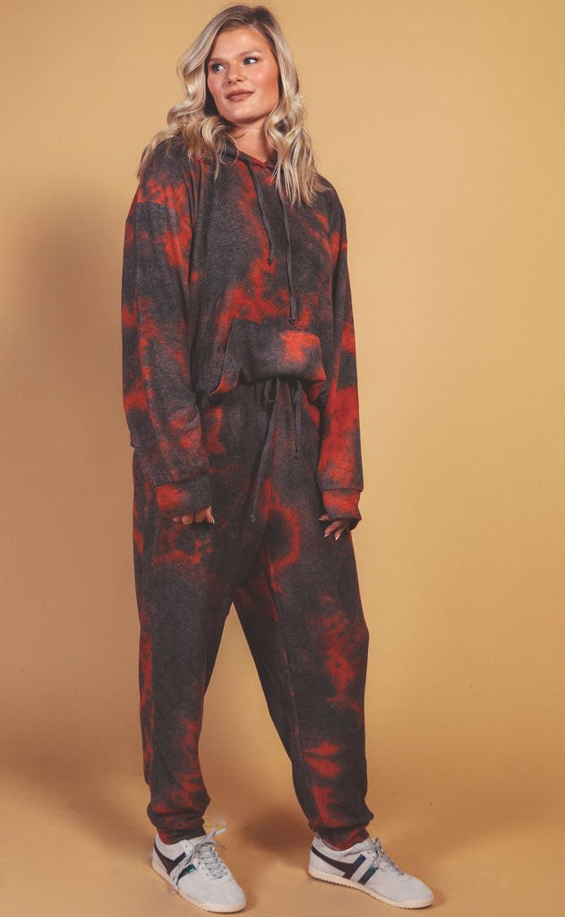 let's warm up tie dye lounge set charcoal red - extended