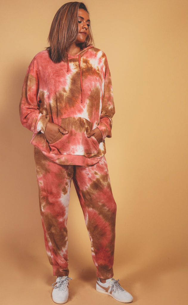 let's warm up tie dye lounge set mauve brown - extended