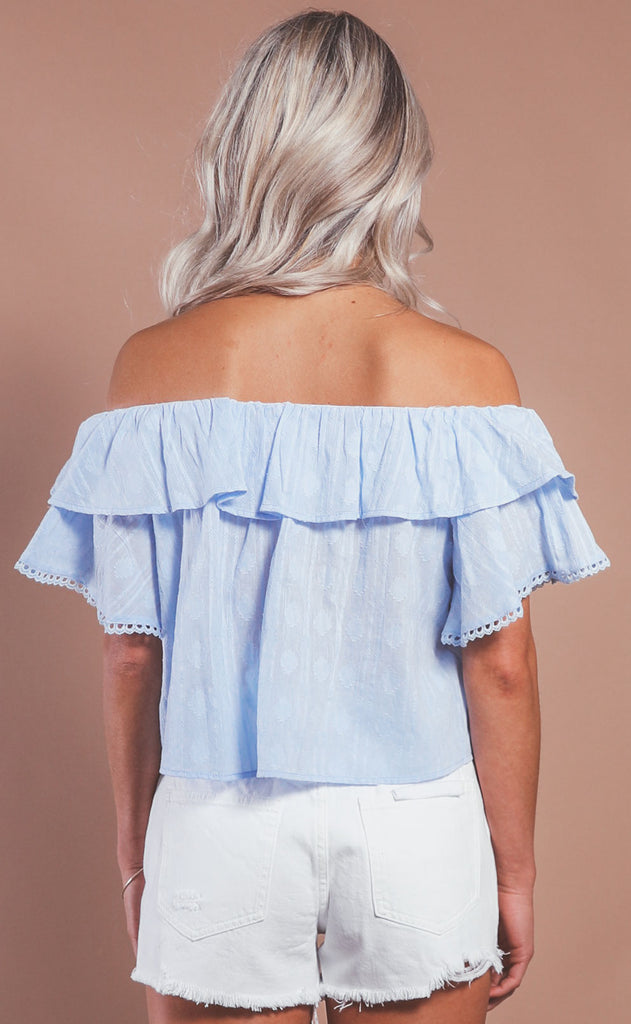 spring in your step ruffle blouse - blue