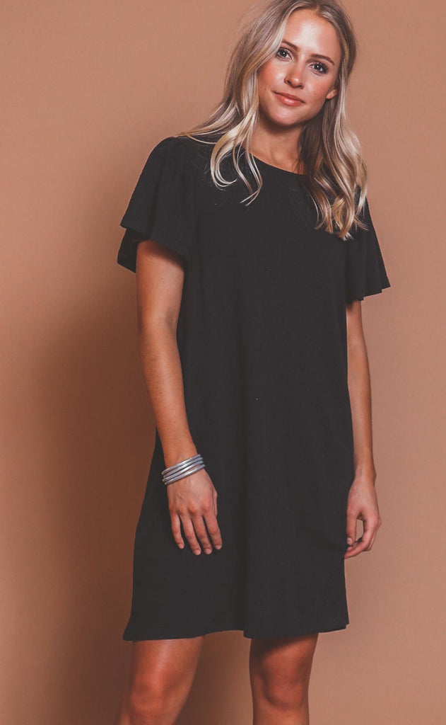 z supply: sofia cotton slub dress - black
