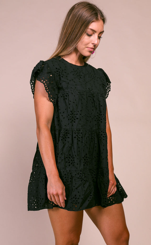 nantucket eyelet babydoll dress - black