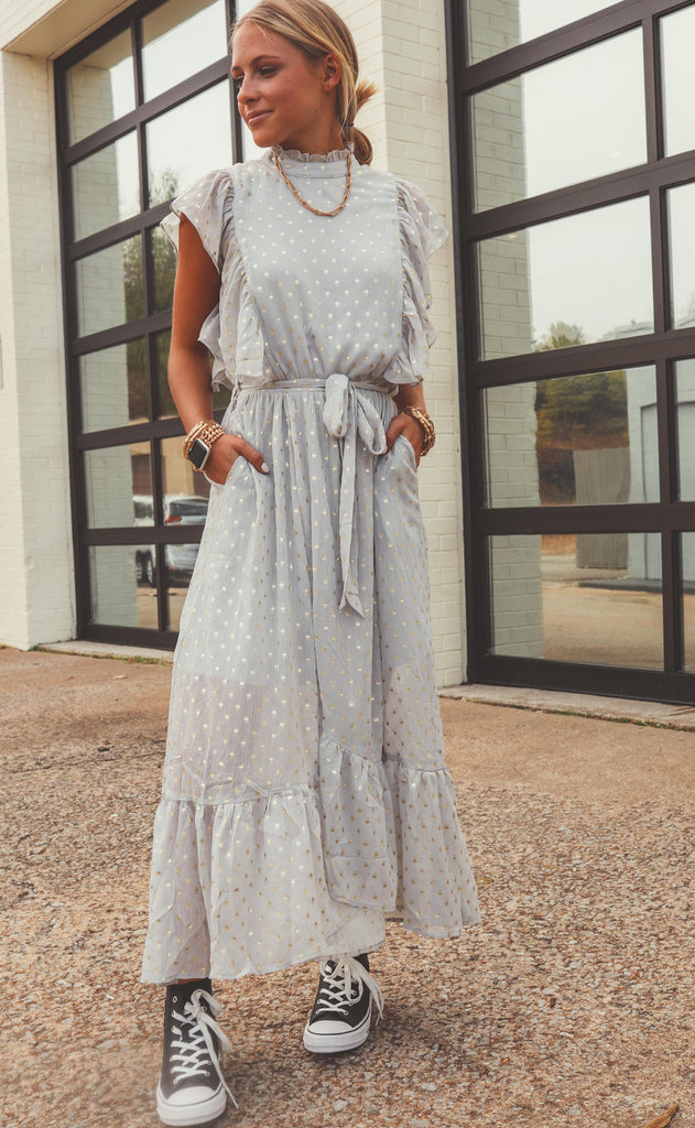 starry eyed ruffle maxi dress