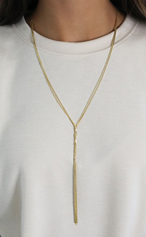 chain reaction layered necklace - gold