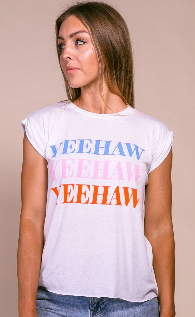 charlie southern: yeehaw rolled sleeve t shirt