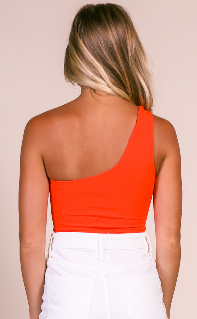 show me you mumu: uno bodysuit - sunset red stretch