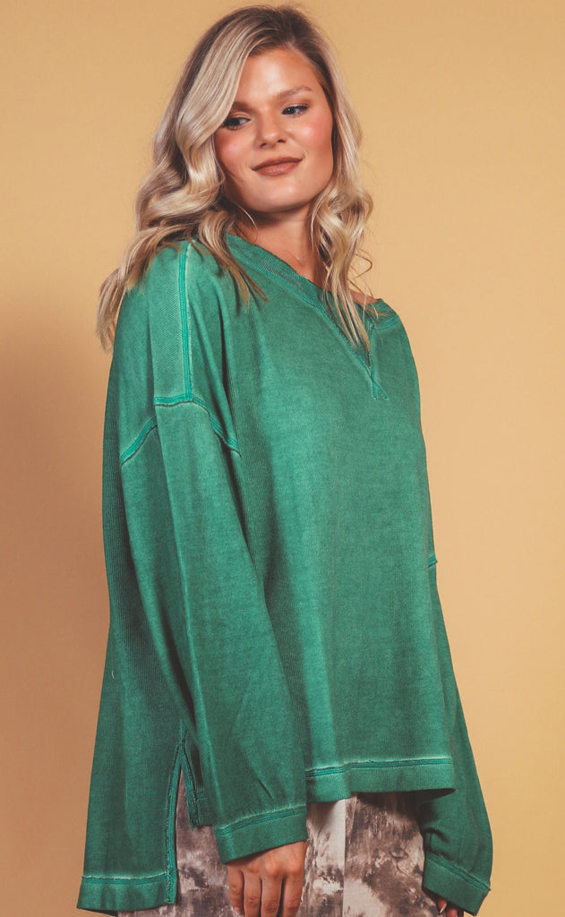free people movement: rugby match long sleeve - green