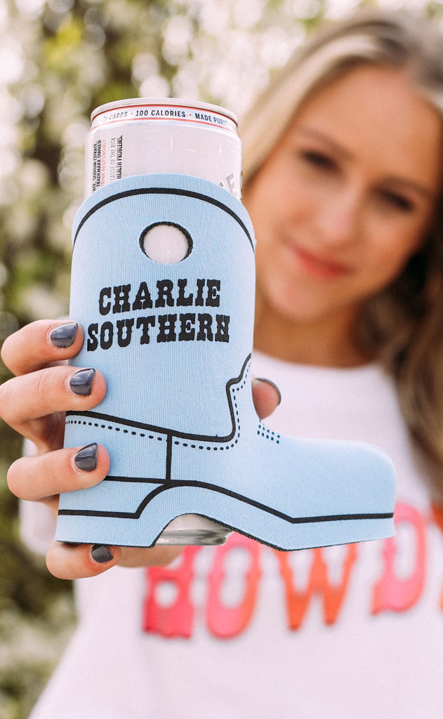 charlie southern: cowboy boot drink sleeve - blue logo