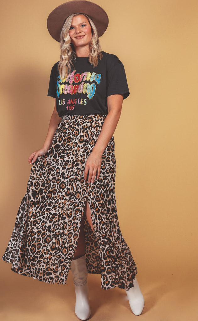 walking the walk leopard skirt - extended