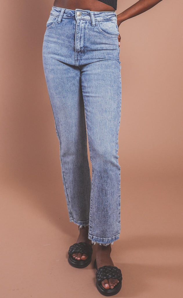 show me your mumu: manhattan straight jeans - blue stone