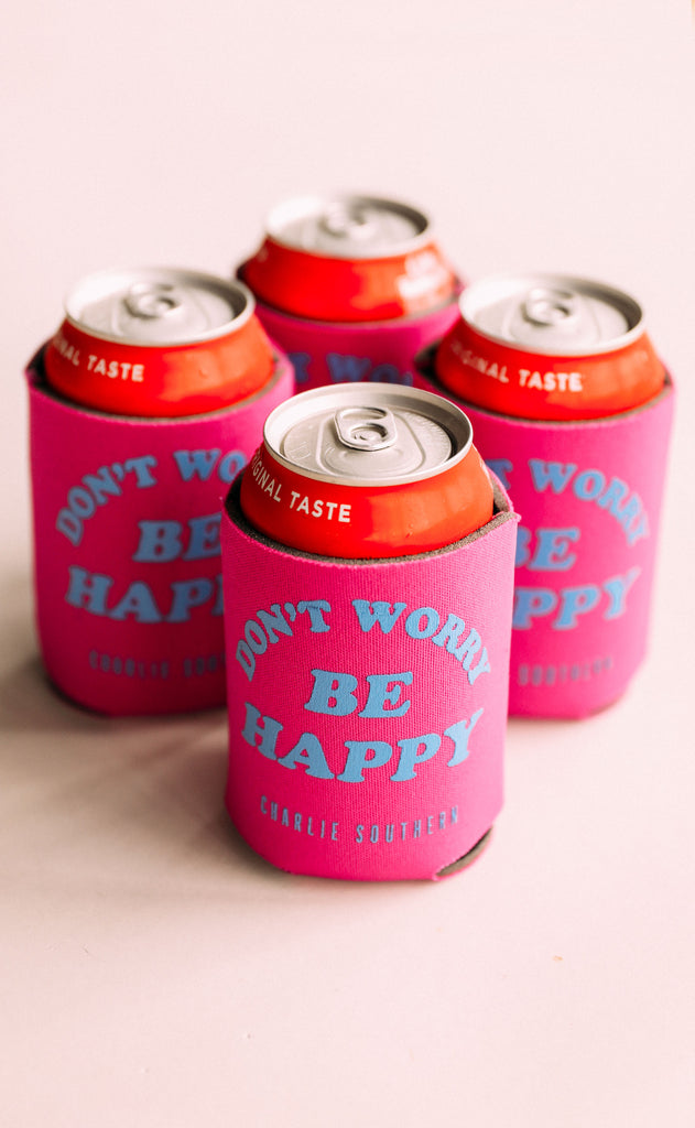 charlie southern: don't worry be happy drink sleeves - pack of 4