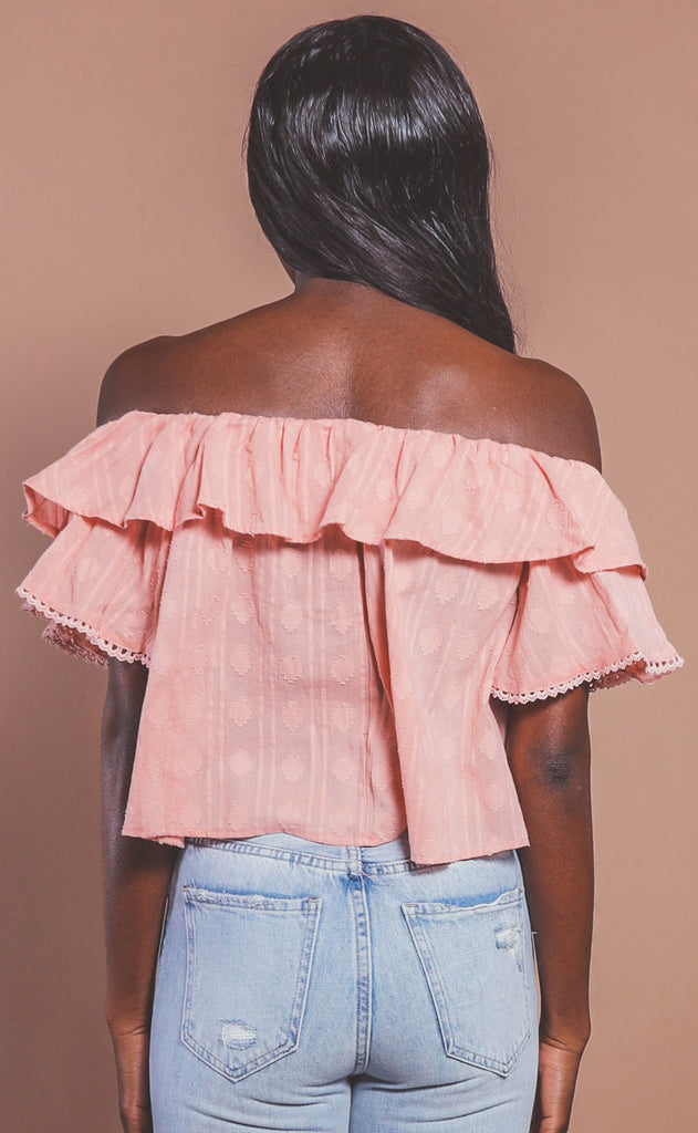 spring in your step ruffle blouse - pink