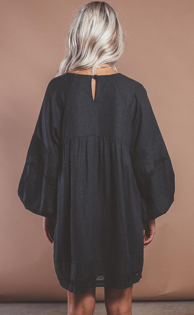take a chance linen dress - black