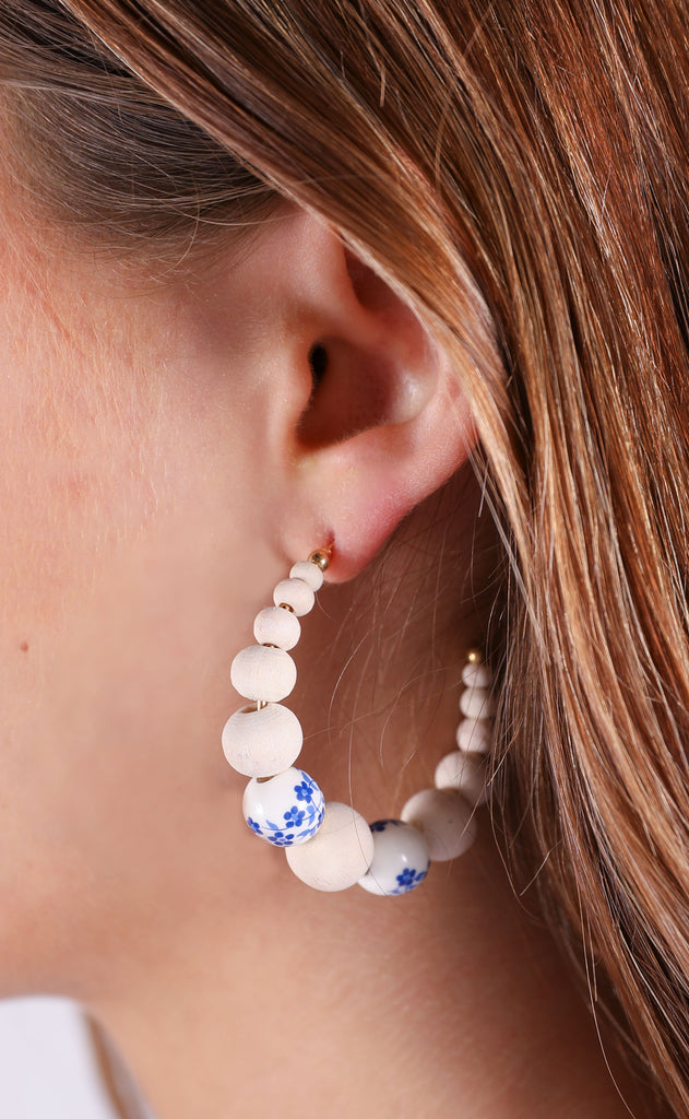 beaded floral earrings - ivory