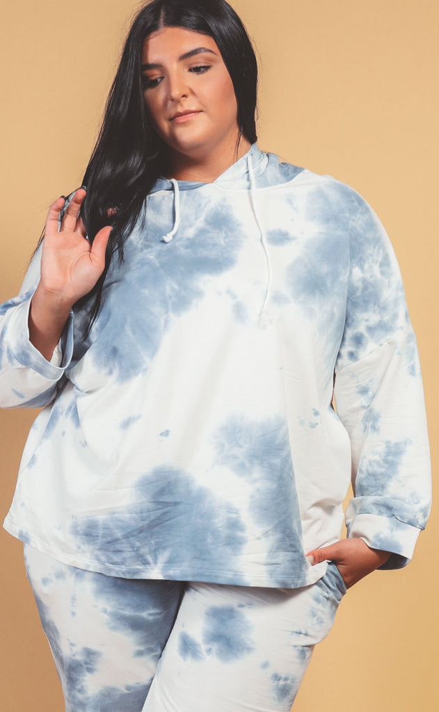 head in the cloud tie dye hoodie blue - extended