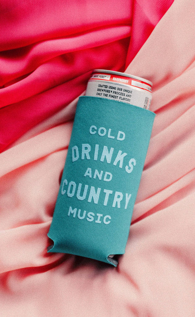 charlie southern: cold drinks and country music skinny drink sleeve - set of four