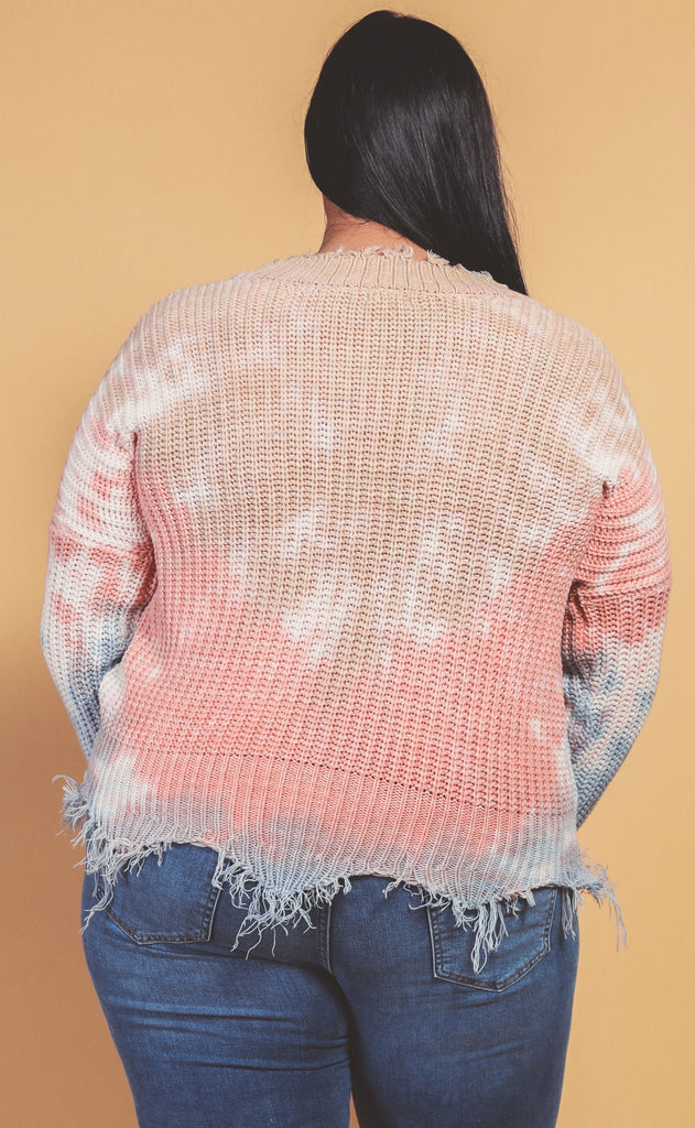 happily ever effortless distressed sweater - extended