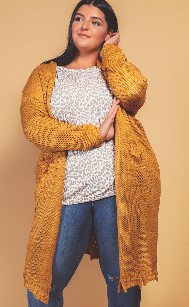 golden hour cardigan mustard - extended