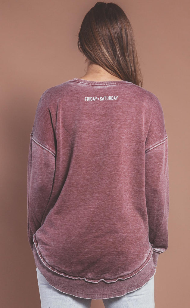 friday + saturday: cool mom high low sweatshirt