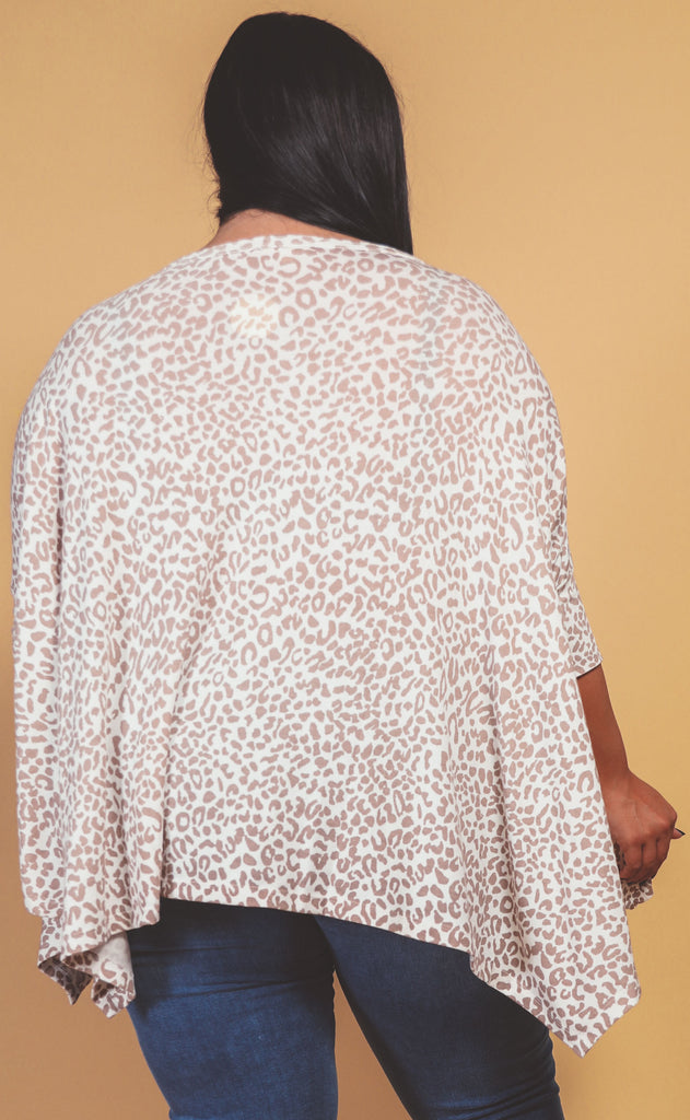 stay in leopard knit top bone - extended