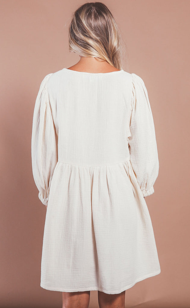 by your side babydoll dress - cream