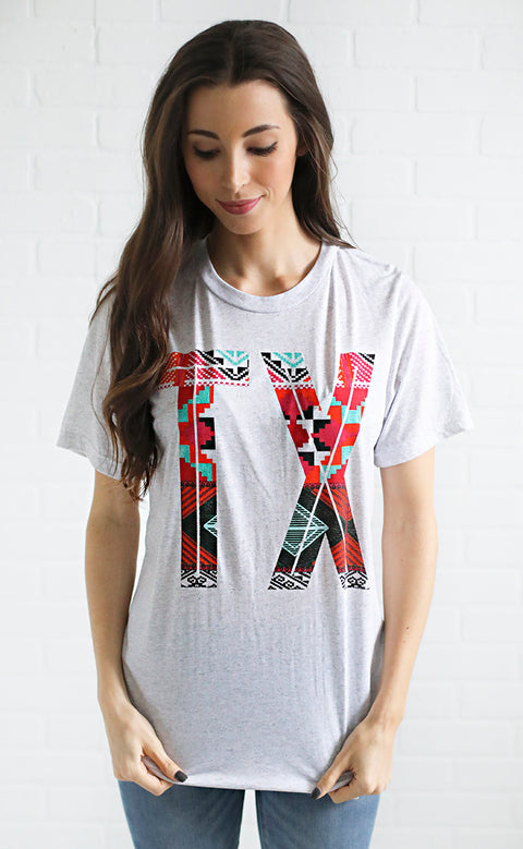 charlie southern: retro aztec state love t shirt - texas