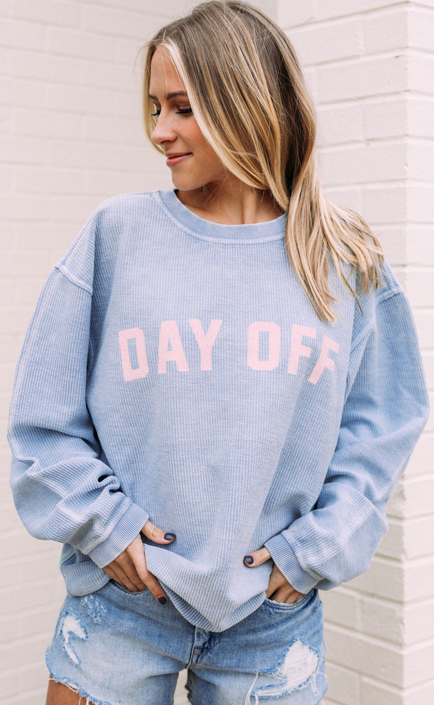 friday + saturday: day off corded sweatshirt - light blue