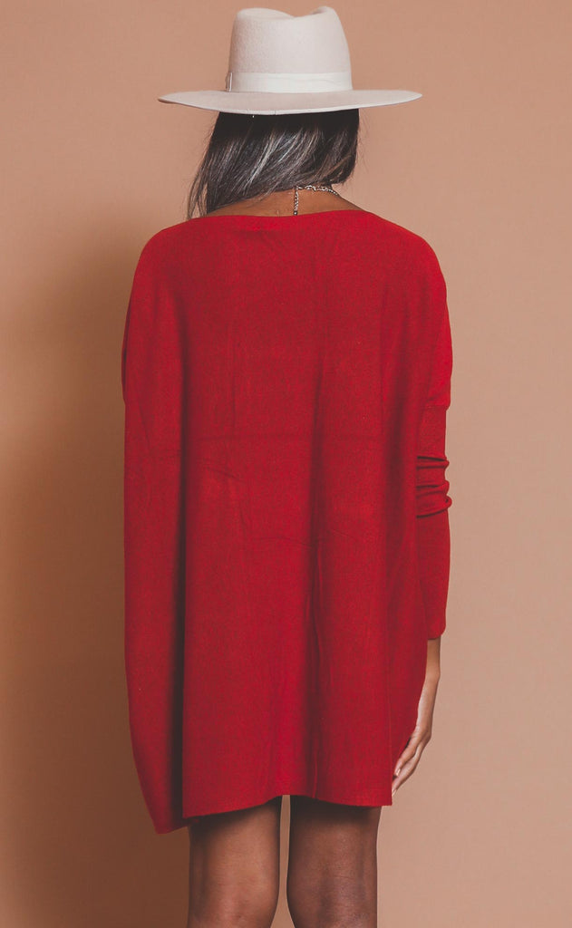 now or never knit dress - red