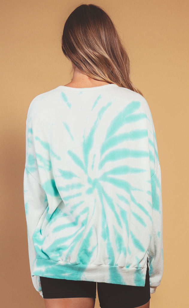 neon lights tie dye sweatshirt - mint