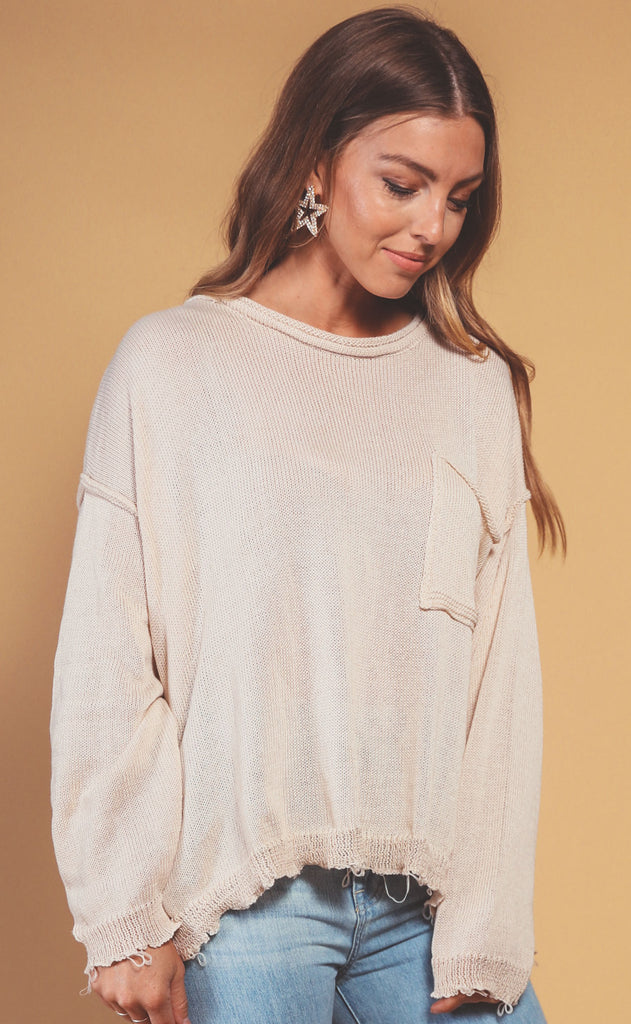 easy on the eyes oversized sweater - oatmeal