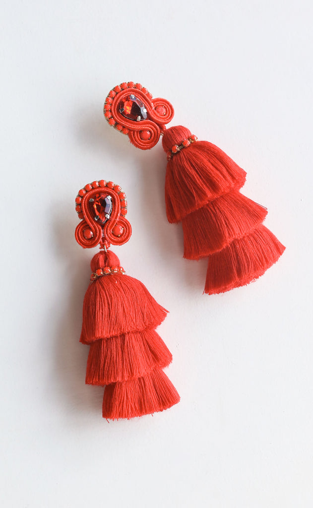 fiesta tassel earrings - red
