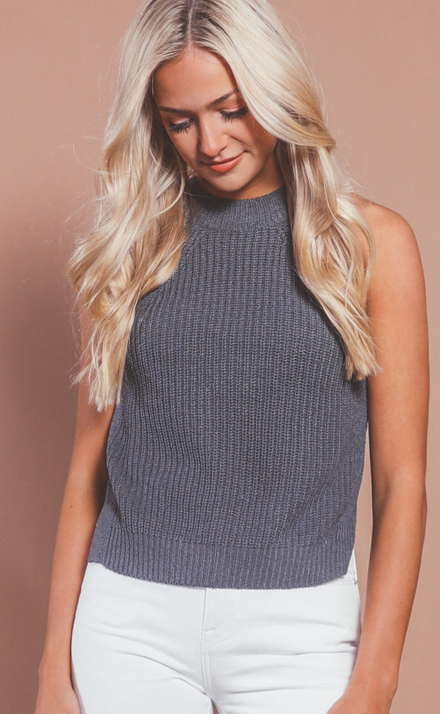 woven ways knit tank- charcoal
