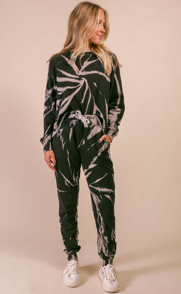 lucy lounge set - black tie dye