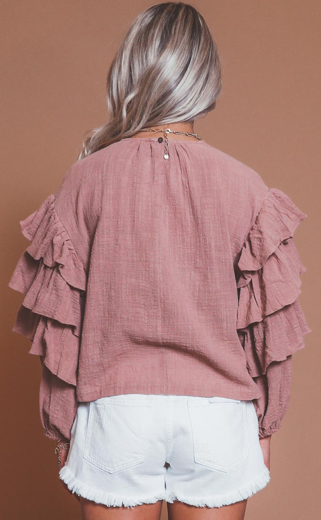 frilling me softly blouse - rose