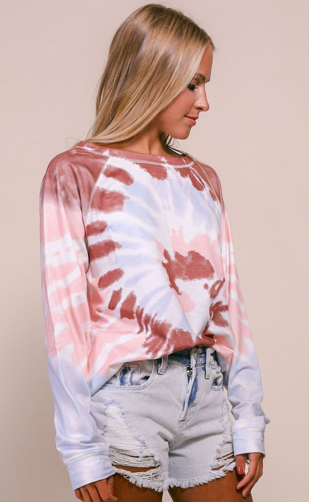 spiraling tie dye top - burgundy/light blue