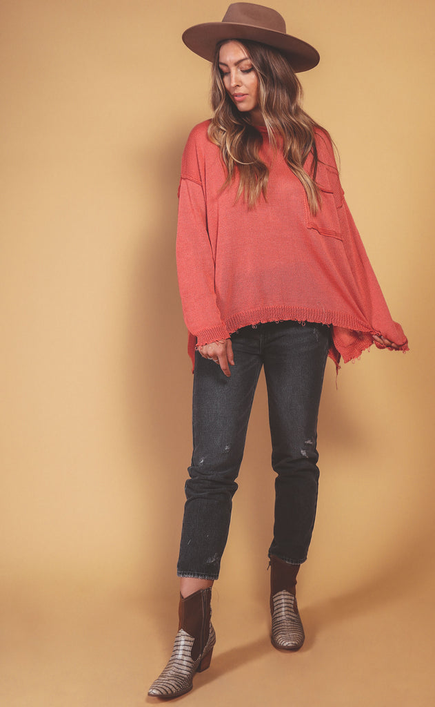 easy on the eyes oversized sweater - vintage coral