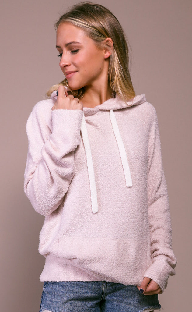 barefoot dreams: cozychic lite women's pullover hoodie - pink