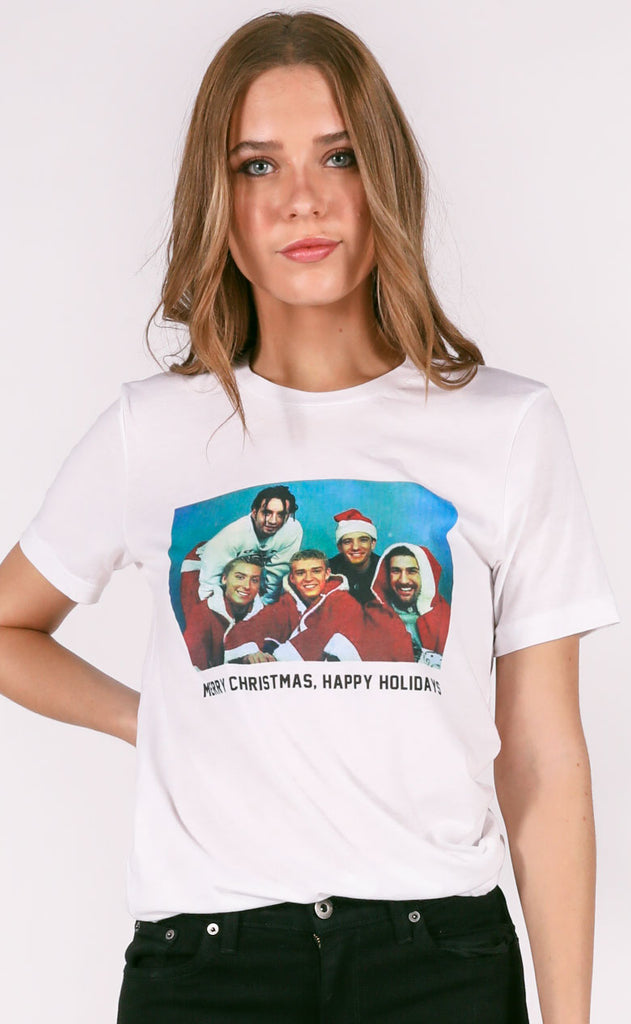 friday + saturday: happy holidays t shirt