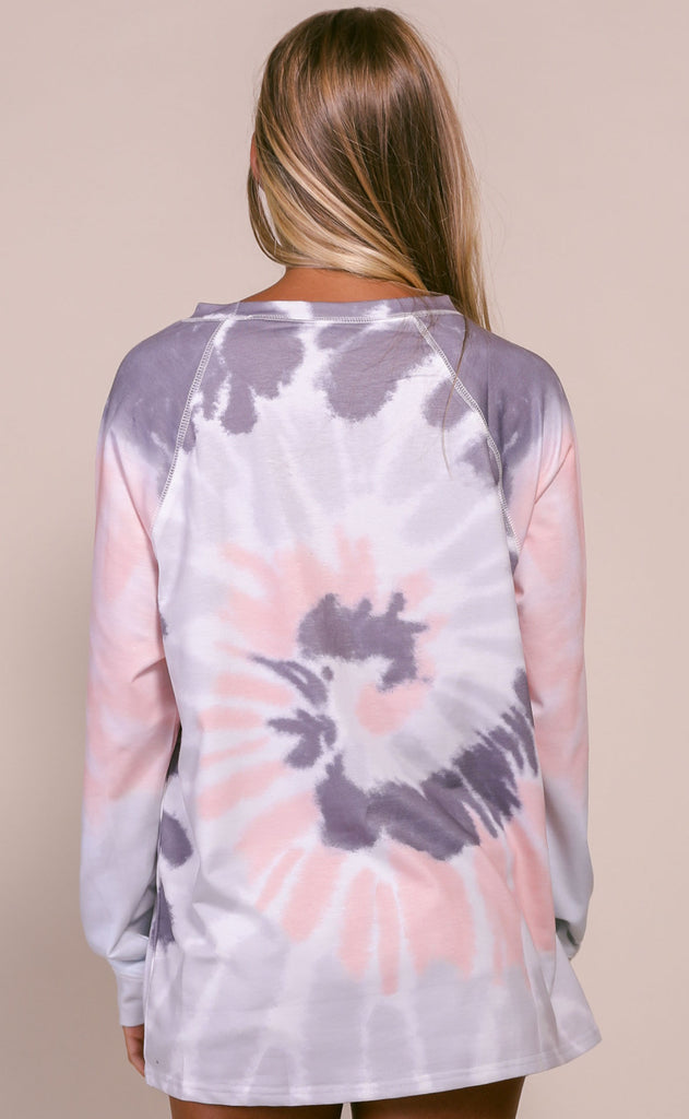 spiraling tie dye top - grey/blush