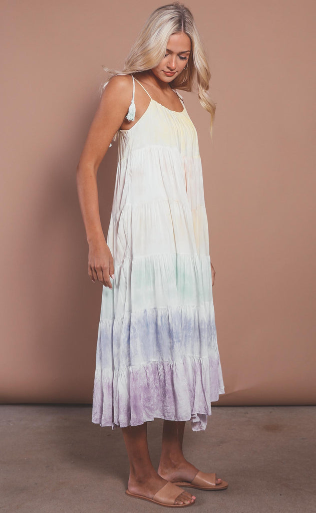 watercolor tiered maxi dress