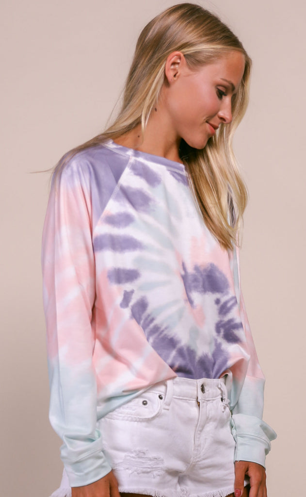 spiraling tie dye top - purple/mint