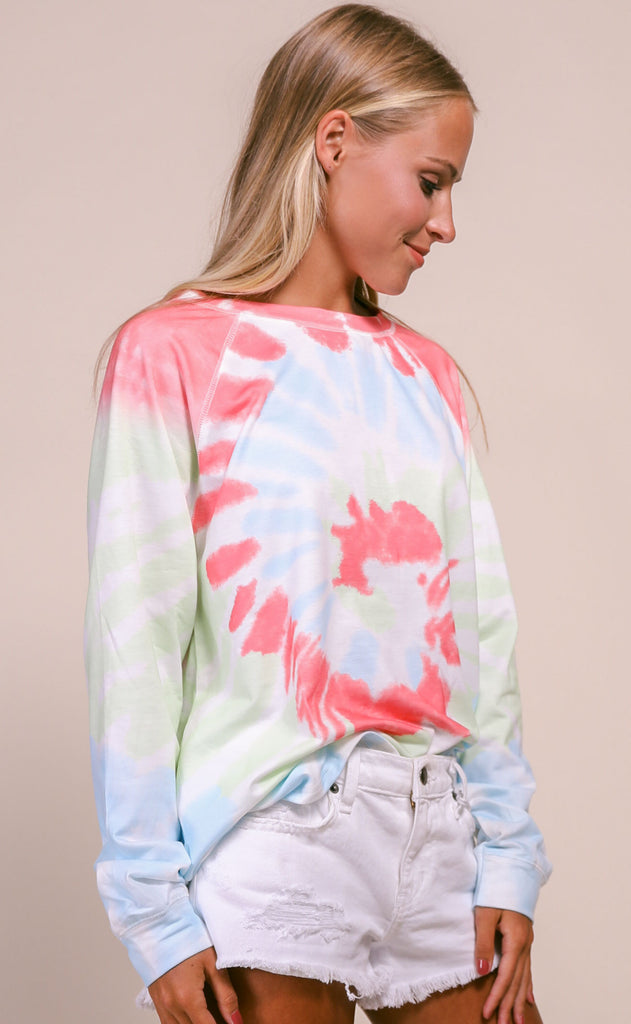 spiraling tie dye top - lime/watermelon