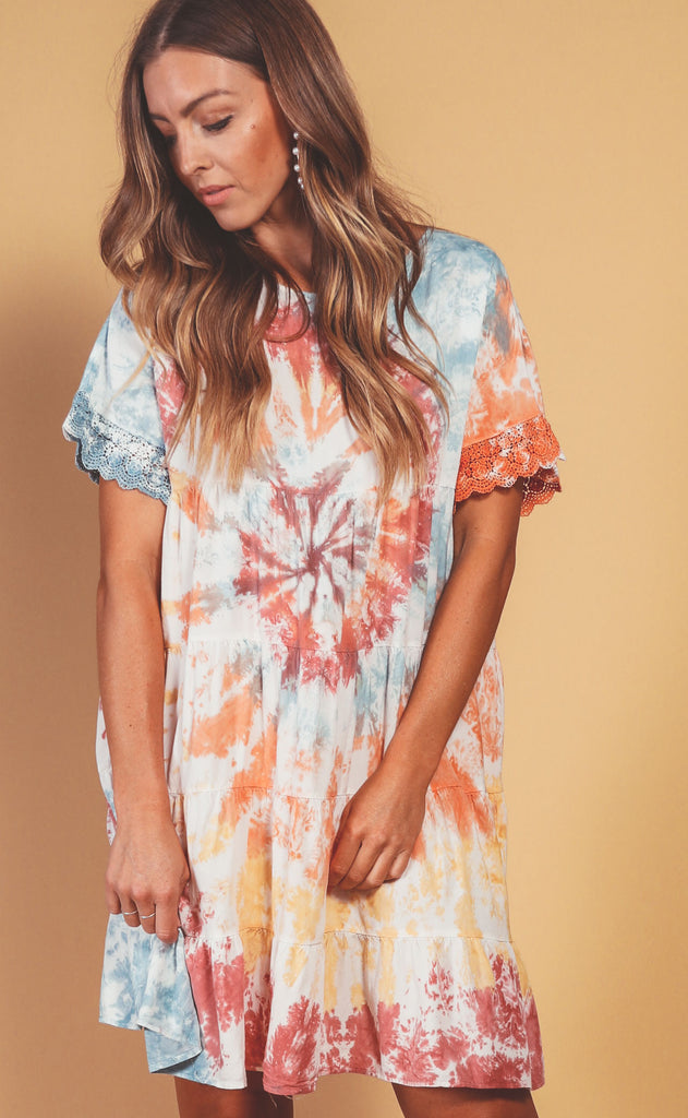 tie dye treat tiered dress