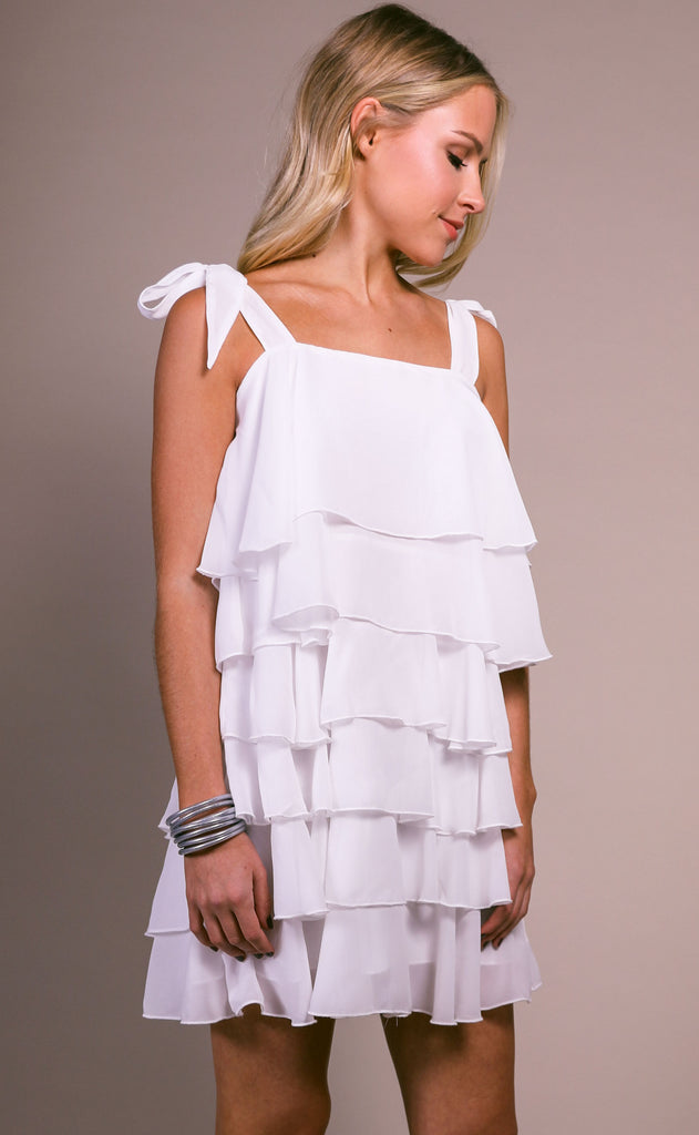 show me your mumu: rowen ruffle dress - white