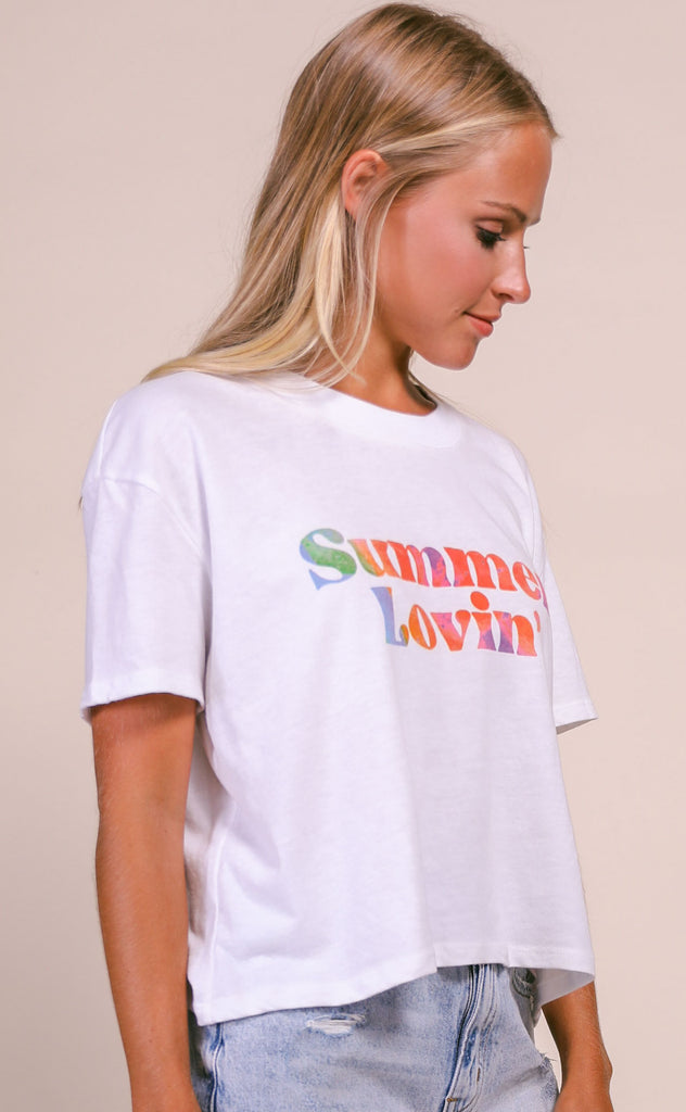 friday + saturday: summer lovin' crop t shirt