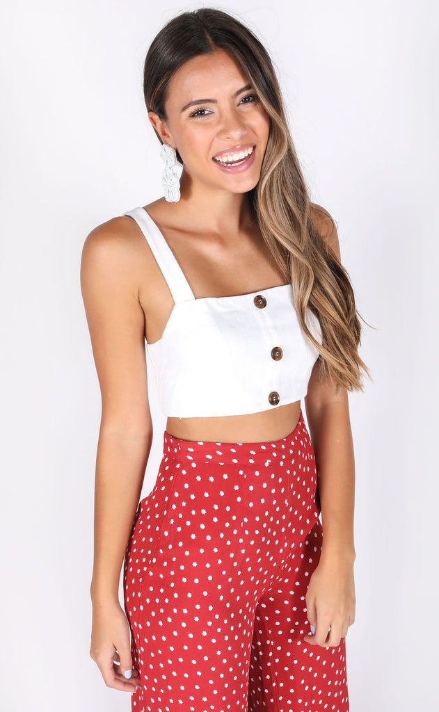 show me your mumu: adeline crop top - white linen