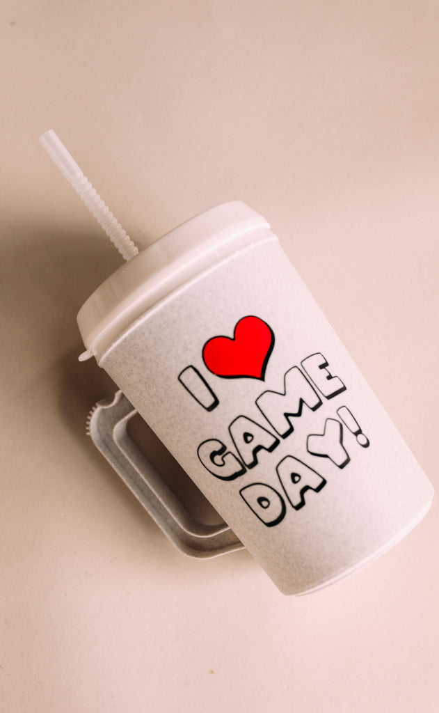 charlie southern: i heart gameday insulated mug - 34 oz.